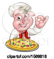 Chef Pig Holding A Pizza And Gesturing Perfect