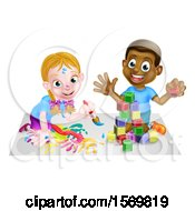 Happy Black Boy Playing With Blocks And White Girl Painting