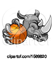 Clipart Of A Tough Rhino Monster Mascot Holding Out A Basketball In One Clawed Paw Royalty Free Vector Illustration by AtStockIllustration