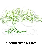 Clipart Of A Green Apple Tree Design Royalty Free Vector Illustration