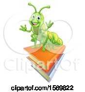 Clipart Of A Happy Green Caterpillar On Books Royalty Free Vector Illustration by AtStockIllustration