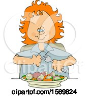 Poster, Art Print Of Cartoon Red Haired Girl Eating A Veggie Meal Of Carrots Peas And Potatoes