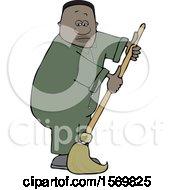 Poster, Art Print Of Cartoon Black Male Custodian Janitor Mopping