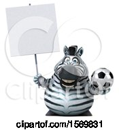 3d Zebra Holding A Soccer Ball On A White Background