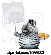3d Zebra Holding A Hot Dog On A White Background