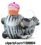 3d Zebra Holding A Cupcake On A White Background
