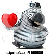 Poster, Art Print Of 3d Zebra Holding A Heart On A White Background