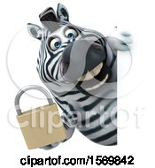 Clipart Of A 3d Zebra Holding A Padlock On A White Background Royalty Free Illustration by Julos