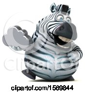 Clipart Of A 3d Zebra Holding A Cloud On A White Background Royalty Free Illustration by Julos