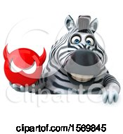 Clipart Of A 3d Zebra Holding A Devil On A White Background Royalty Free Illustration by Julos