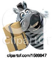 Clipart Of A 3d Zebra Holding Boxes On A White Background Royalty Free Illustration by Julos