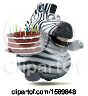 Poster, Art Print Of 3d Zebra Holding A Birthday Cake On A White Background
