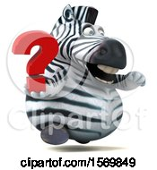 Clipart Of A 3d Zebra Holding A Question Mark On A White Background Royalty Free Illustration by Julos