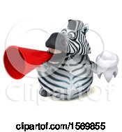 Clipart Of A 3d Zebra Holding A Tooth On A White Background Royalty Free Illustration by Julos
