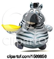 Clipart Of A 3d Zebra Holding A Banana On A White Background Royalty Free Illustration by Julos
