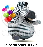 Clipart Of A 3d Zebra Holding Messages On A White Background Royalty Free Illustration by Julos