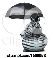 Clipart Of A 3d Zebra Holding An Umbrella On A White Background Royalty Free Illustration by Julos