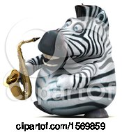 Clipart Of A 3d Zebra Holding A Saxophone On A White Background Royalty Free Illustration by Julos