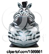 Clipart Of A 3d Zebra Holding His Belly On A White Background Royalty Free Illustration by Julos