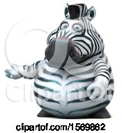 Clipart Of A 3d Zebra Presenting On A White Background Royalty Free Illustration by Julos