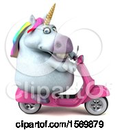 Clipart Of A 3d Chubby Unicorn Riding A Scooter On A White Background Royalty Free Illustration
