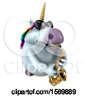 3d Chubby Unicorn Playing A Saxophone On A White Background