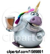 Poster, Art Print Of 3d Chubby Unicorn Holding A Beer On A White Background