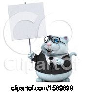 Clipart Of A 3d White Business Kitty Cat Holding A Sign On A White Background Royalty Free Illustration
