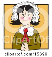 Quaker Woman With Flushed Cheeks Wearing A Bonnet In Her Hair Seated With Her Hands Clasped In Front Of Her Clipart Illustration by Andy Nortnik