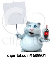 Clipart Of A 3d White Kitty Cat Holding A Wine Bottle On A White Background Royalty Free Illustration