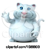 Clipart Of A 3d White Kitty Cat Waving On A White Background Royalty Free Illustration by Julos
