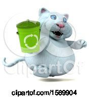Clipart Of A 3d White Kitty Cat Holding A Recycle Bin On A White Background Royalty Free Illustration