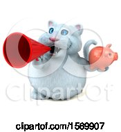 Clipart Of A 3d White Kitty Cat Holding A Piggy Bank On A White Background Royalty Free Illustration
