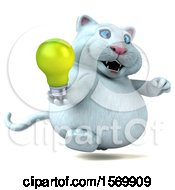 Clipart Of A 3d White Kitty Cat Holding A Light Bulb On A White Background Royalty Free Illustration
