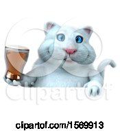 Poster, Art Print Of 3d White Kitty Cat Holding A Beer On A White Background