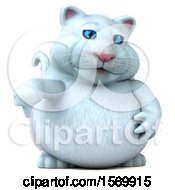 Clipart Of A 3d White Kitty Cat Giving A Thumb Down On A White Background Royalty Free Illustration
