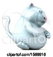 Clipart Of A 3d White Kitty Cat Walking On A White Background Royalty Free Illustration