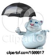 Clipart Of A 3d White Kitty Cat Holding An Umbrella And Reaching Out On A White Background Royalty Free Illustration