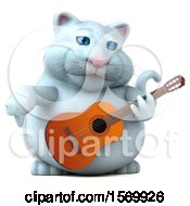 Clipart Of A 3d White Kitty Cat Holding A Guitar On A White Background Royalty Free Illustration