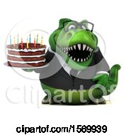 Poster, Art Print Of 3d Green Business T Rex Dinosaur Holding A Birthday Cake On A White Background