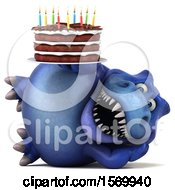 Poster, Art Print Of 3d Blue T Rex Dinosaur Holding A Birthday Cake On A White Background