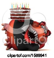 Poster, Art Print Of 3d Red Business T Rex Dinosaur Holding A Birthday Cake On A White Background