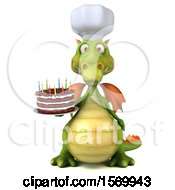 Poster, Art Print Of 3d Green Chef Dragon Holding A Birthday Cake On A White Background