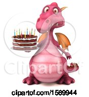 Poster, Art Print Of 3d Pink Dragon Holding A Birthday Cake On A White Background