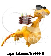 Poster, Art Print Of 3d Yellow Dragon Holding A Birthday Cake On A White Background