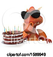 Poster, Art Print Of 3d Red Dragon Holding A Birthday Cake On A White Background