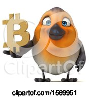 3d Robin Bird Holding A Bitcoin Symbol On A White Background