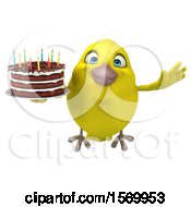Poster, Art Print Of 3d Yellow Bird Holding A Birthday Cake On A White Background