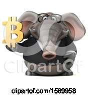 3d Business Elephant Holding A Bitcoin Symbol On A White Background