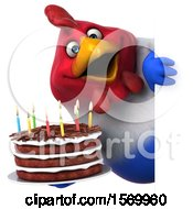 Poster, Art Print Of 3d Chubby French Chicken Holding A Birthday Cake On A White Background
